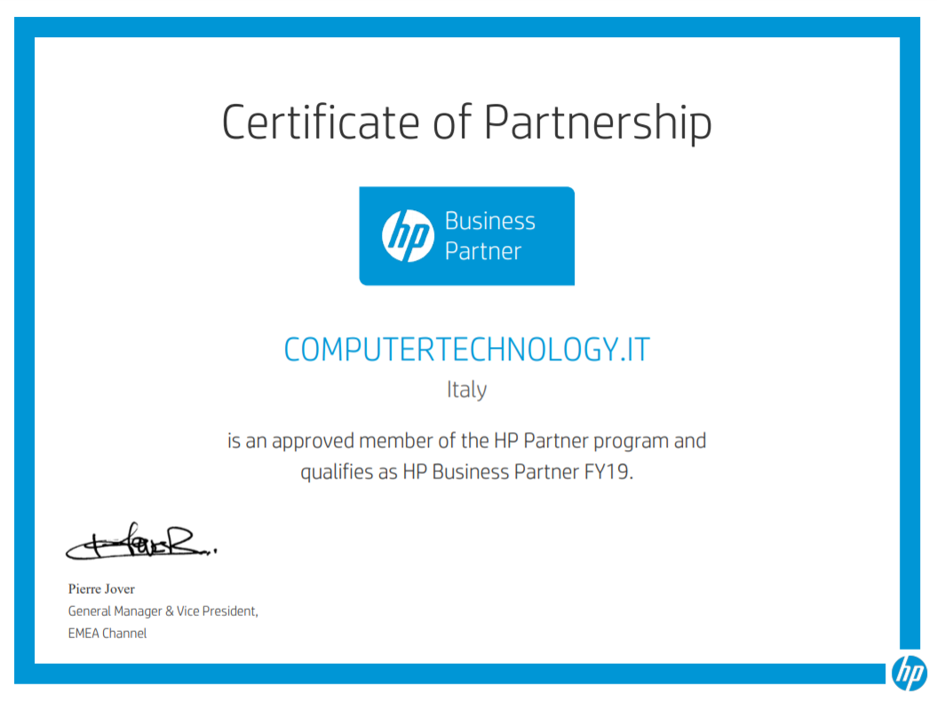 hp business partner 2019 certificate
